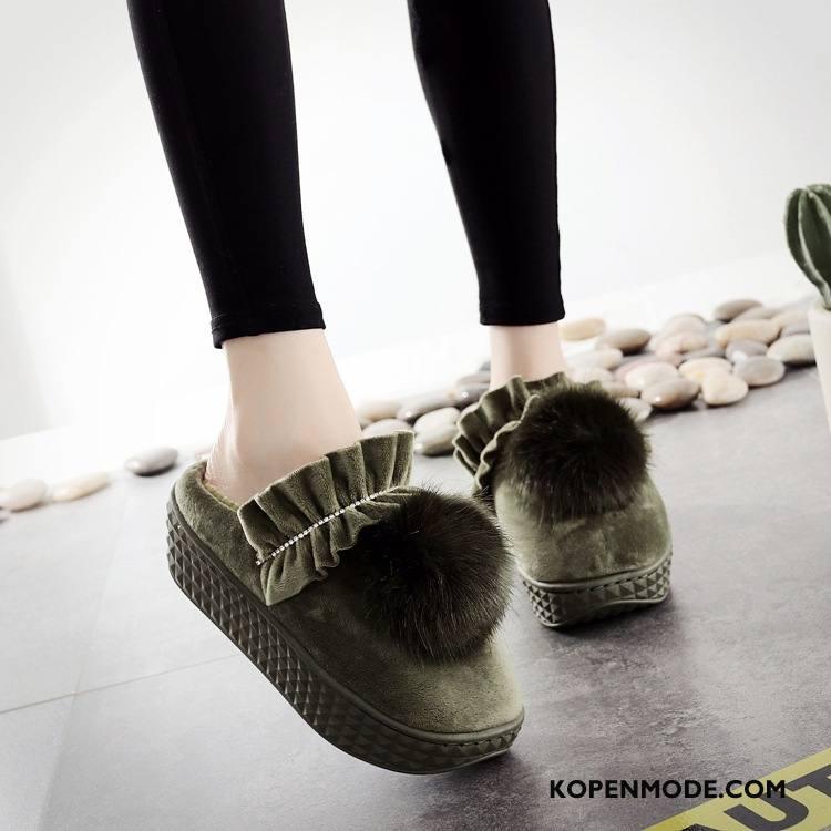 Pantoffels Dames Slippers Vrouw Platform Katoen Mooie Hoge Hakken Legergroene Beige
