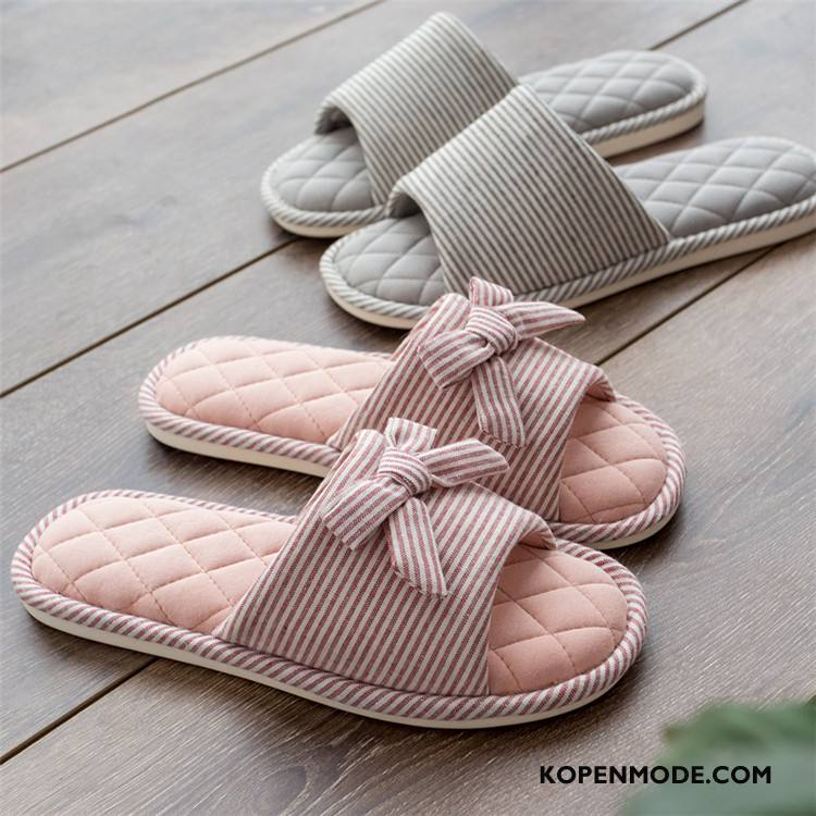 Pantoffels Dames Student Katoen Zachte Zolen Textiel Antislip Binnen Roze