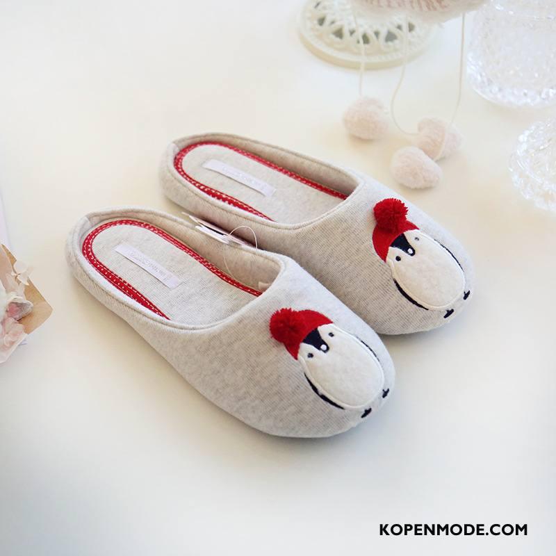 Pantoffels Dames Vrouw Binnen Schoenen Lichte Katoen Rood Grijs