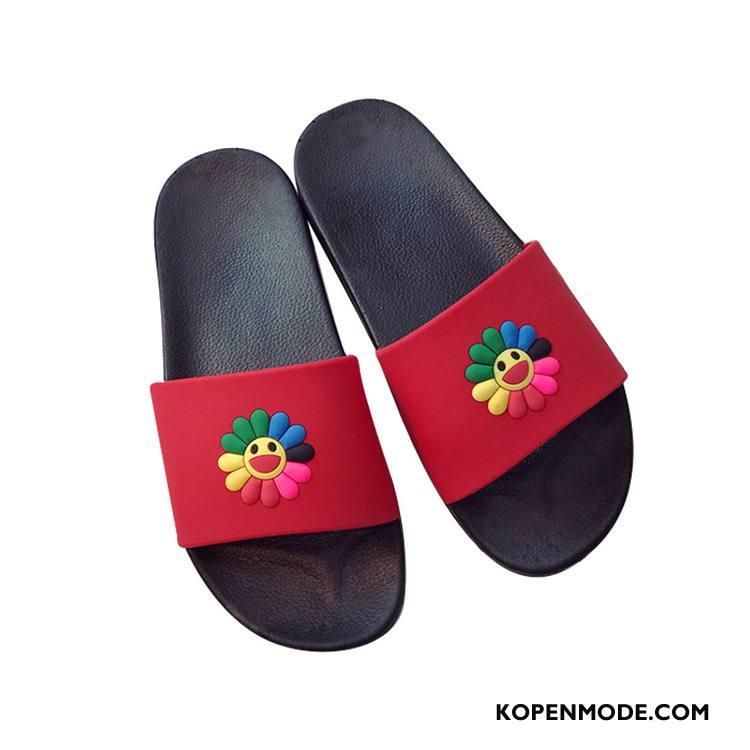 Pantoffels Dames Zon Mannen Slippers Binnen Bloemen Zomer Roze Rood