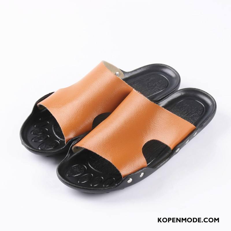 Pantoffels Heren Ademende Leer Hete Verkoop Trend Casual Mannen Zandkleur Oranje