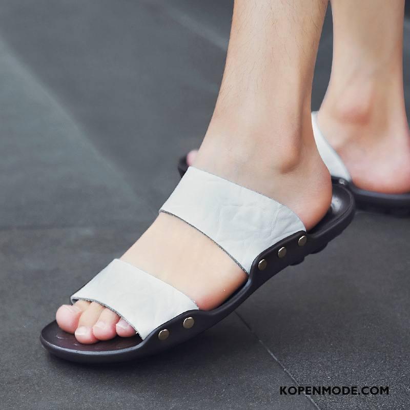 Pantoffels Heren Ademende Schoenen Zachte Zolen Outdoor Mannen Antislip Zandkleur Wit