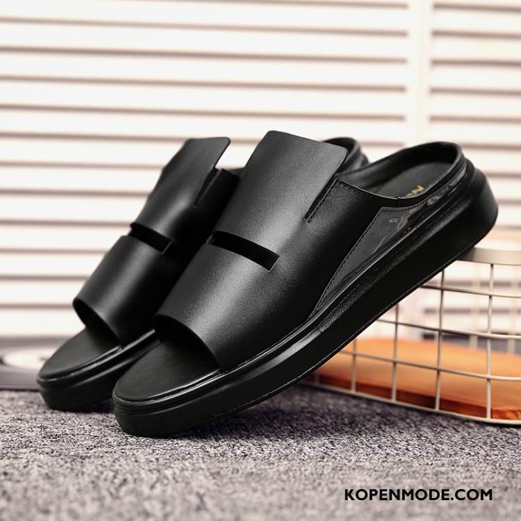 Pantoffels Heren Echt Leer Mannen Schoenen Casual Alle Wedstrijden Comfortabele Zwart