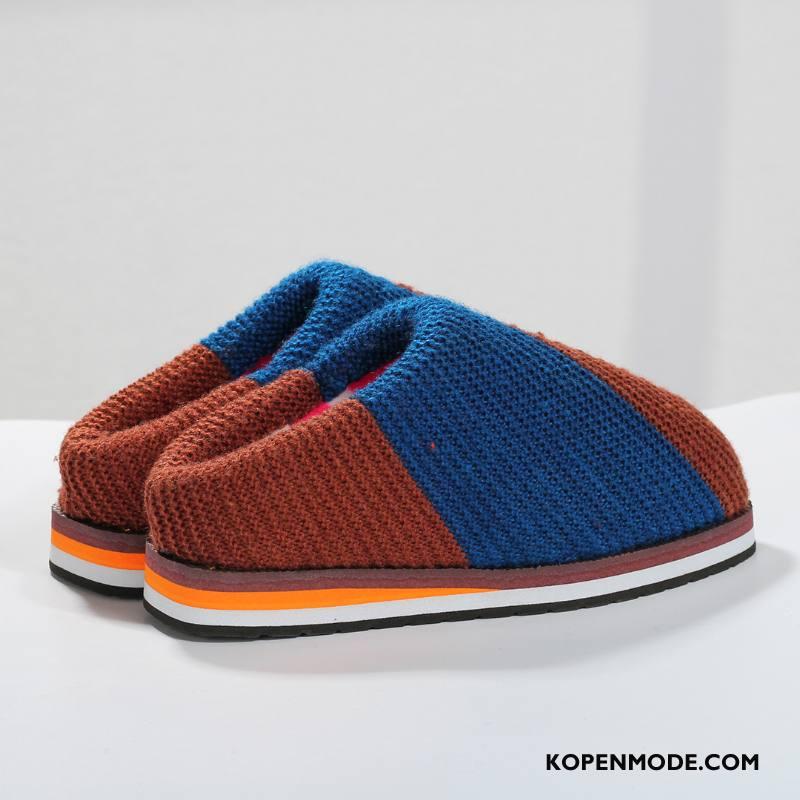 Pantoffels Heren Katoen Mannen Winter Verdikken Warm Schoenen Blauw