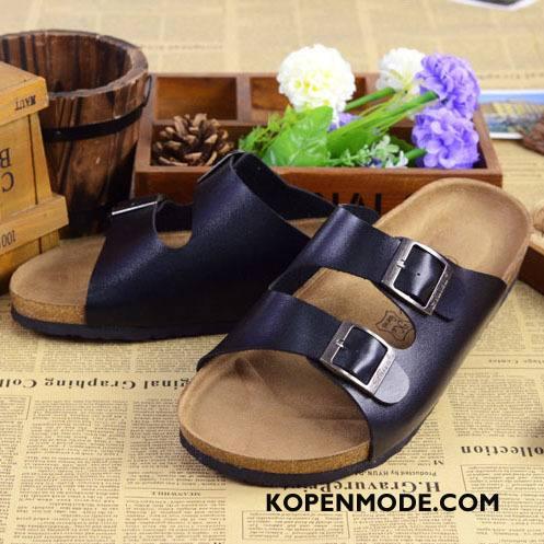Pantoffels Heren Trend Antislip Sandaal Houten Zomer Mannen Zandkleur Zwart