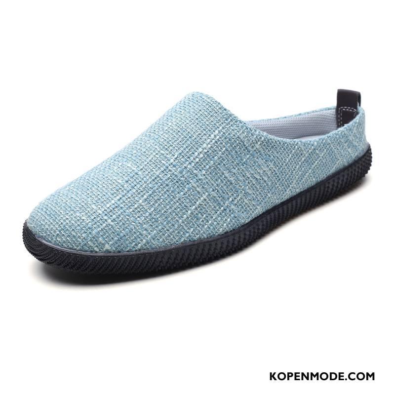 Pantoffels Heren Trend Schoenen Mannen Canvas Persoonlijk Slip On Blauw