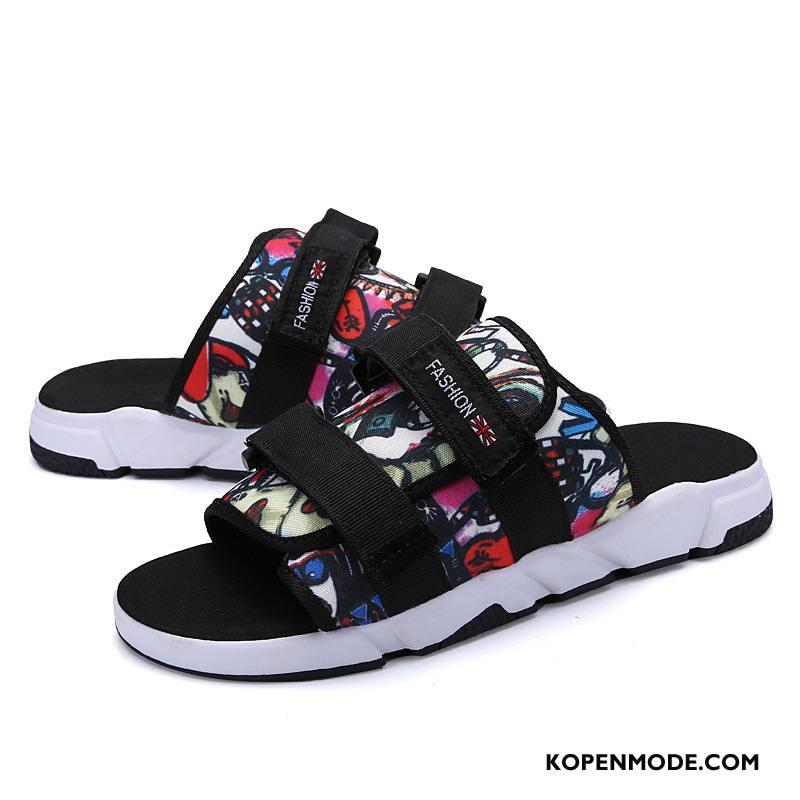 Pantoffels Heren Zomer Mannen Trend Rome Schoenen Persoonlijk Zandkleur Zwart