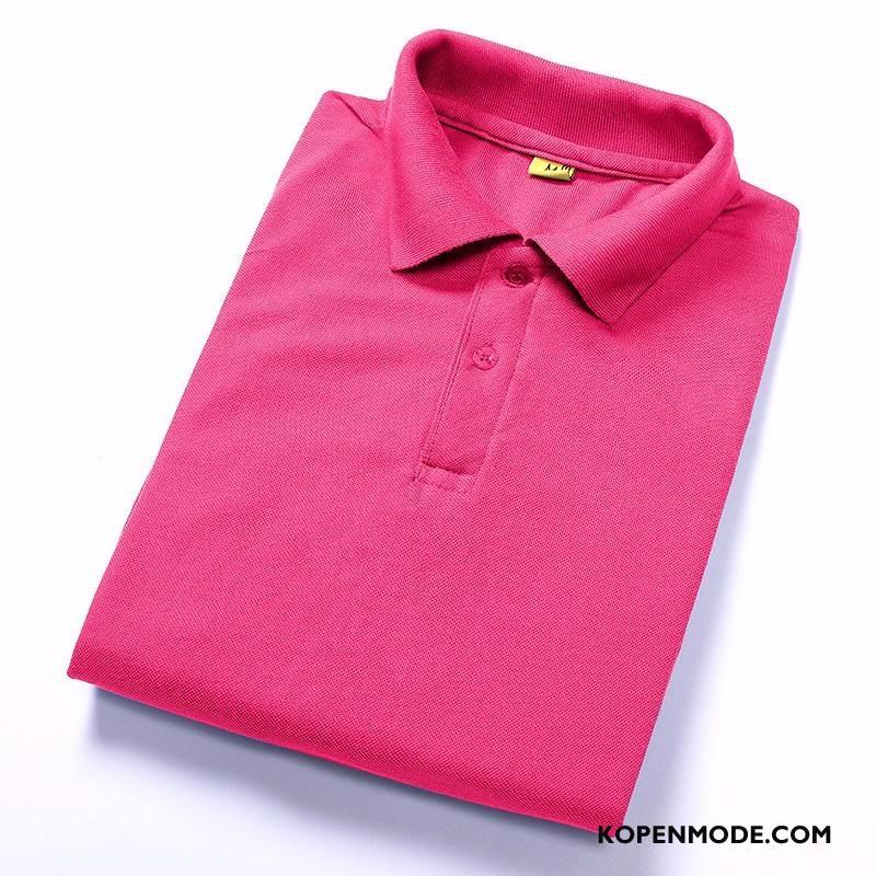 Polo Heren Korte Mouw Slim Fit Mannen Trend Pullover Mode Effen Kleur Rood
