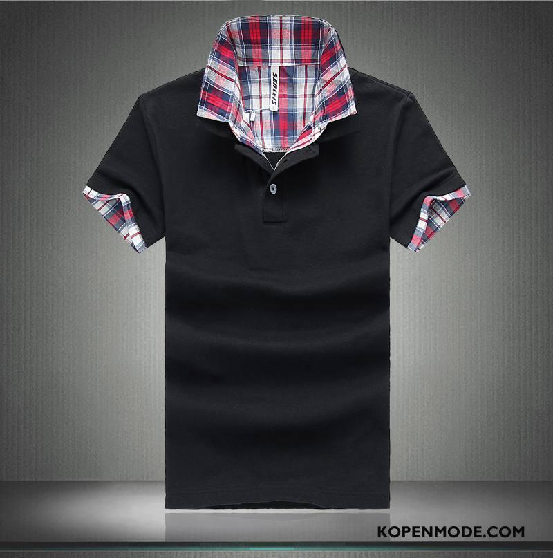 Polo Heren Mannen T-shirts Katoen Populair Trend Revers Effen Kleur Zwart