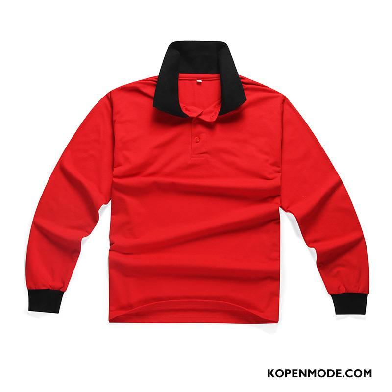 Polo Heren Revers Bedrijf Lange Mouwen Werkkleding Rood Wit