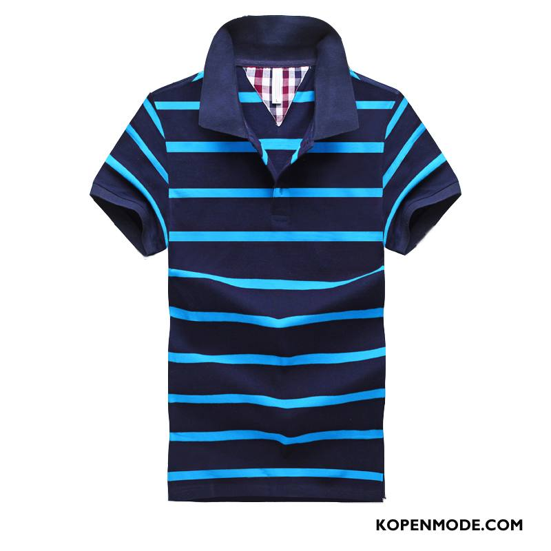 Polo Heren Trend Katoen Populair Mannen T-shirts Zomer Effen Kleur Blauw