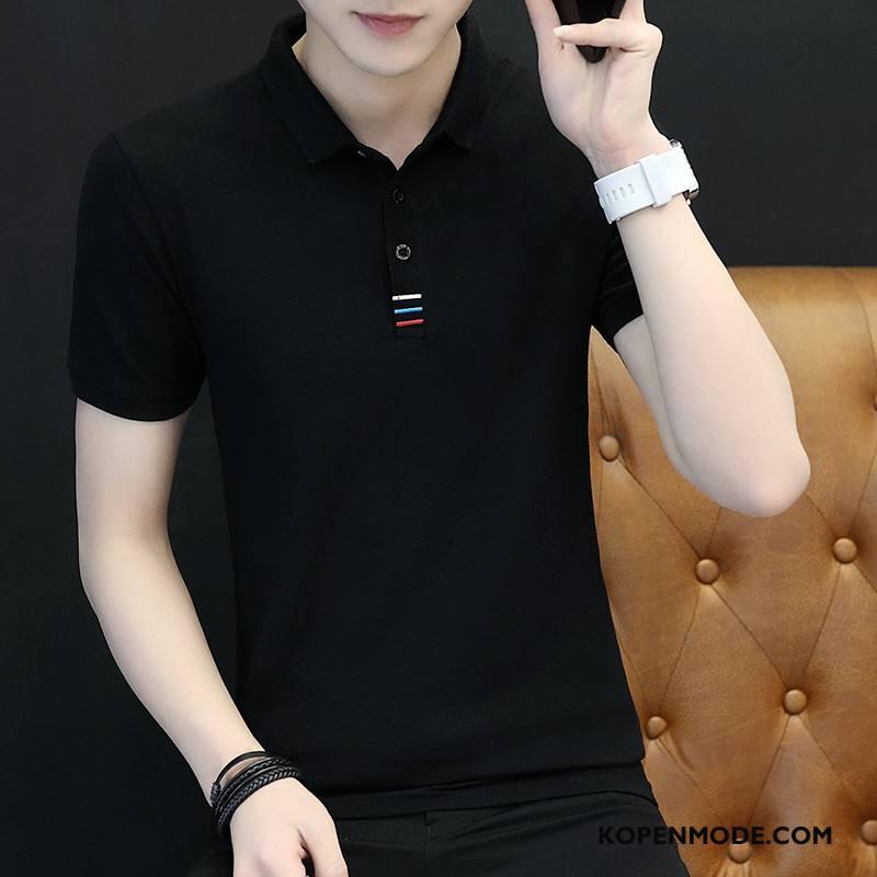 Polo Heren Trend Mannen Slim Fit Jeugd T-shirts Revers Zwart
