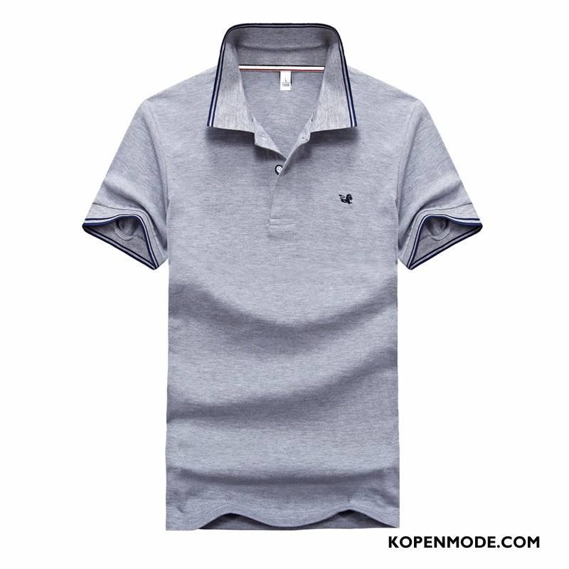 Polo Heren Zomer T-shirts Korte Mouw Mannen Losse Revers Effen Kleur Grijs