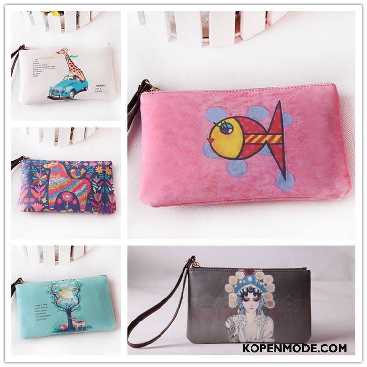 Portemonnee Dames Bedrukken Lange Hand Portable Tas Make-up Rood
