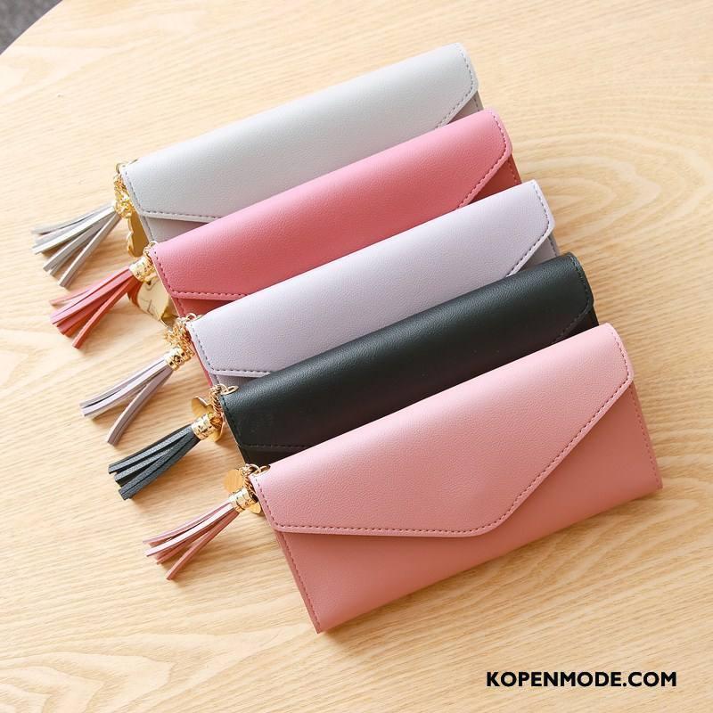 Portemonnee Dames Hanger Nieuw Hart Mode Eenvoudig Lange Roze Rood