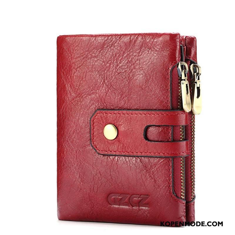 Portemonnee Dames Korte Mode Kaart Tas Rits Vrouwen Hand Rood