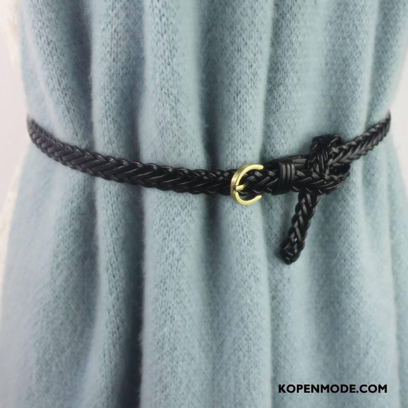 Riemen Dames Accessoires Overjas Mode Weven Echt Leer Decoratie Zwart