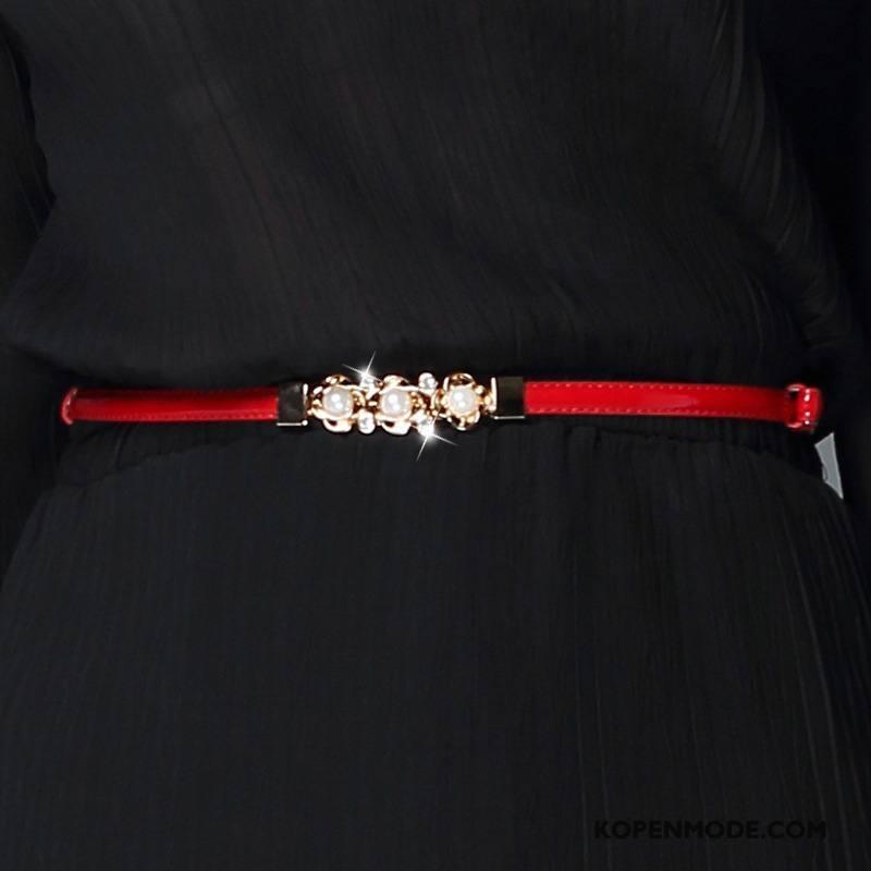 Riemen Dames Parel Vrouwen Mini Nieuw Fijne Mode Rood