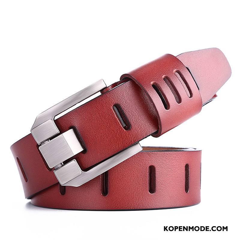 Riemen Heren Nieuw Veiligheidsspeld Alle Wedstrijden Mode Echt Leer Vintage Rood Bruine