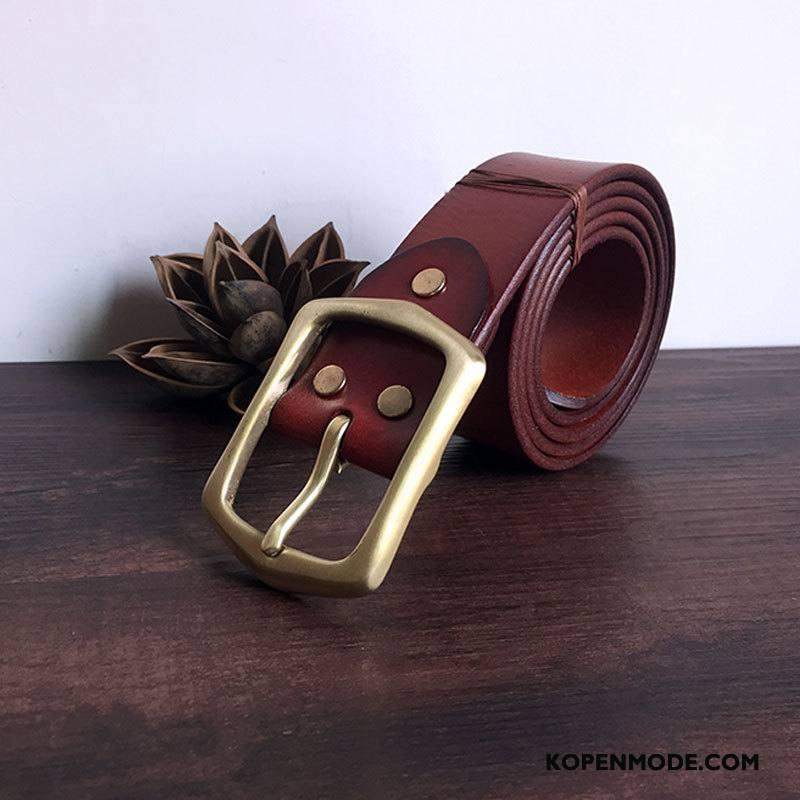 Riemen Heren Zuiver Groot Veiligheidsspeld Leer Lederen Eenvoudig Geel Rood Bruine