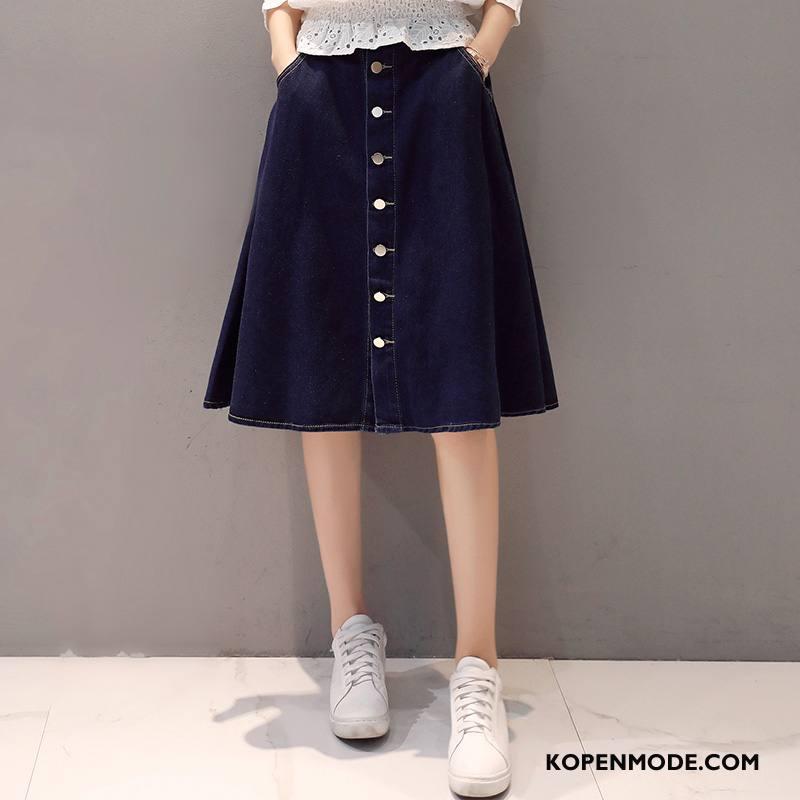 Rokken Dames Denim Mode Knopen Trend Casual Herfst Effen Kleur Blauw