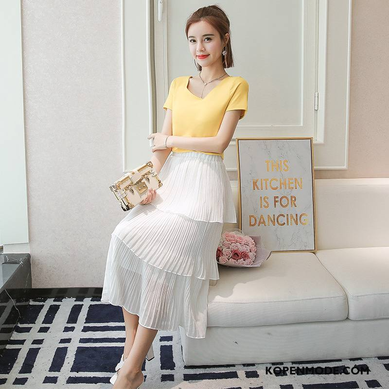 Rokken Dames Eenvoudige Hoge Taille Slim Fit Mode Bloemen Trend Wit