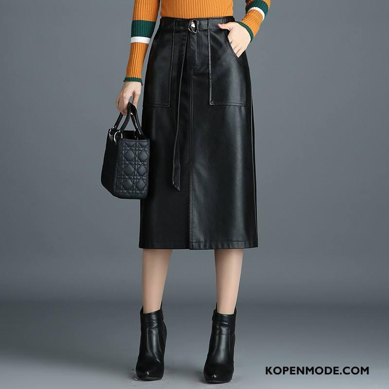 cb643a45596833 Rokken Dames Elegante 2018 Voorjaar Hoge Taille Korte Broek Mode Effen  Kleur Zwart