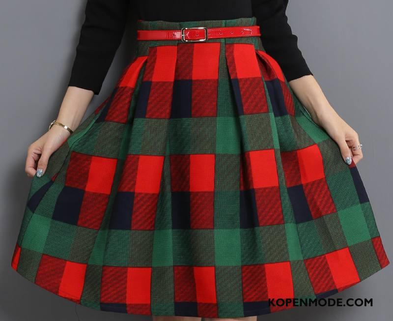 Rokken Dames Elegante Mode Casual Hoge Taille Herfst Bedrukken Rood