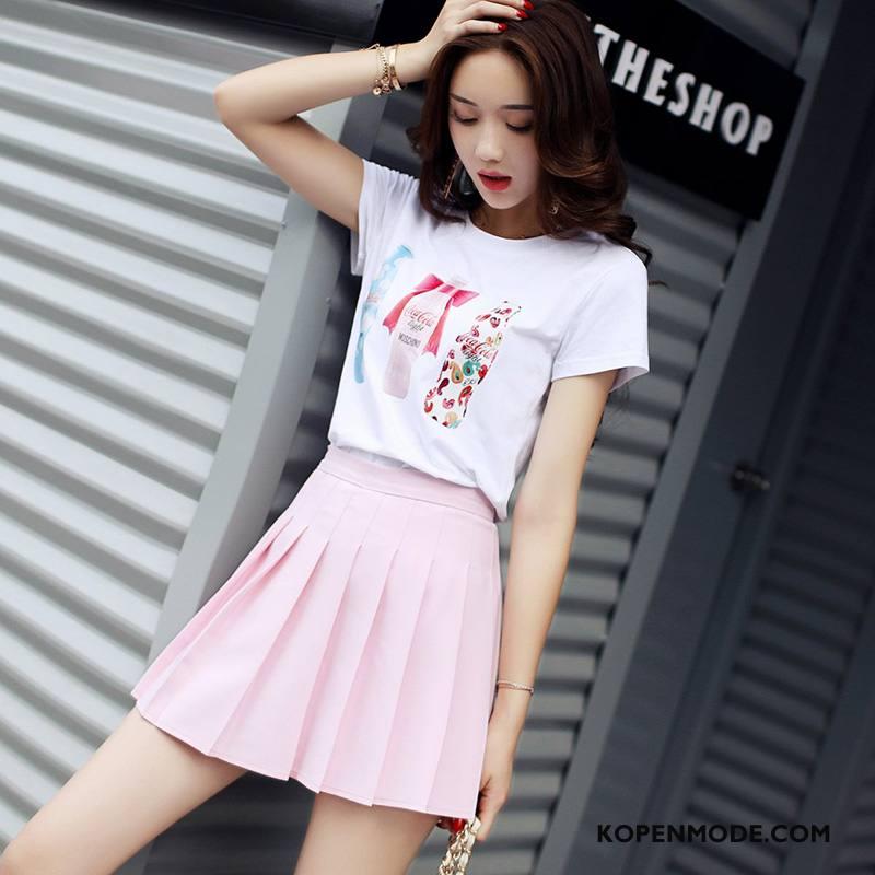 Rokken Dames Straat Elegante Trend Mode Zoet Plooien Roze Rood Effen Kleur