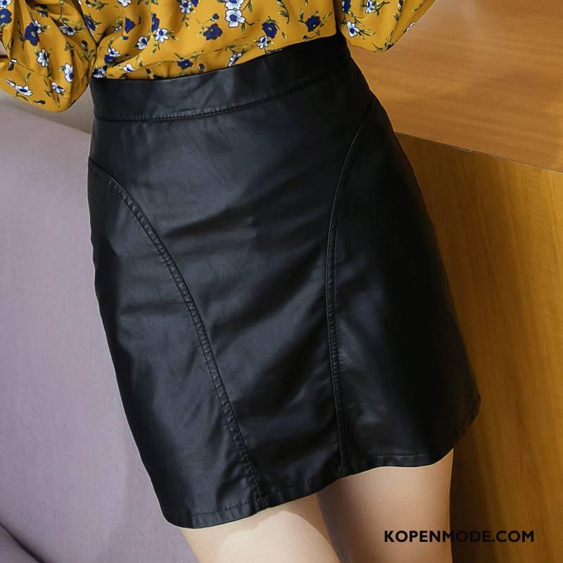 Rokken Dames Verbinding Hoge Taille Herfst Mode Korte Rokjes Effen Kleur Zwart