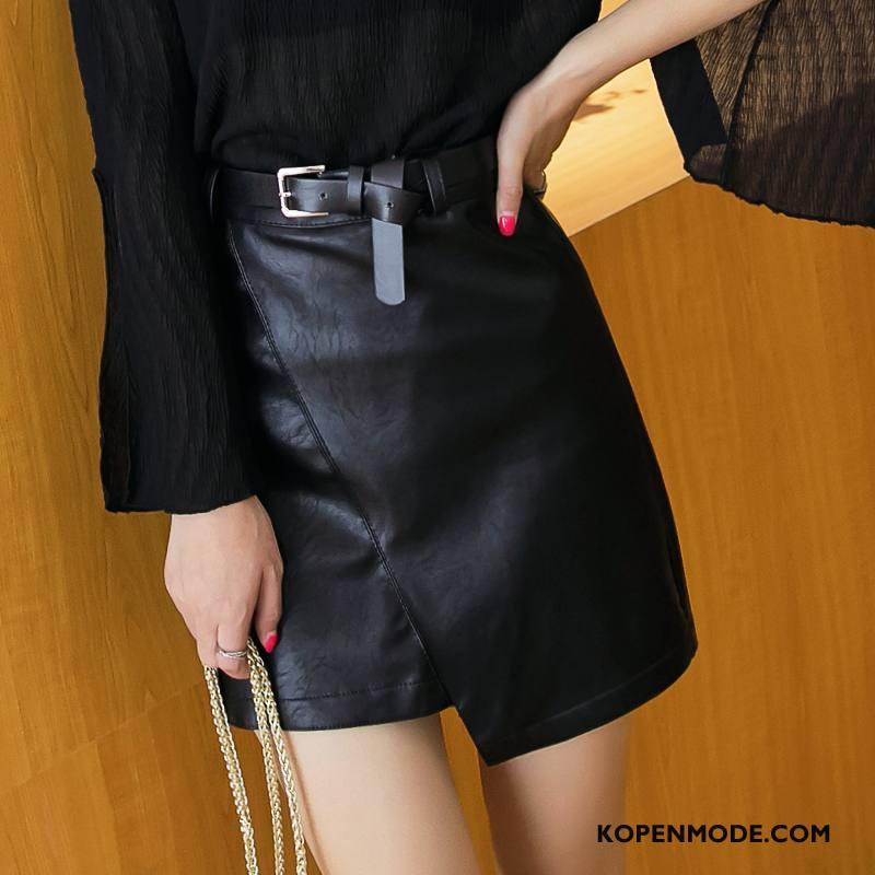 Rokken Dames Verbinding Korte Rokjes Herfst Mid Taille Eenvoudige Mode Effen Kleur Zwart