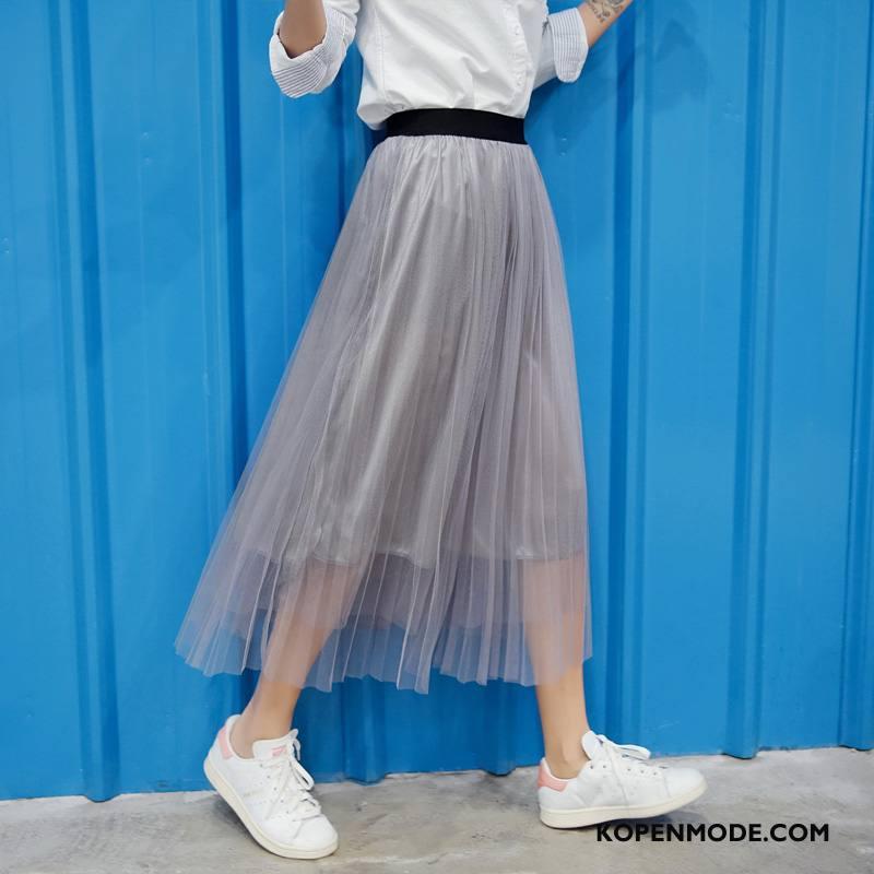 Rokken Dames Voorjaar Eenvoudige Elegante Mode Lang Campus Effen Kleur Grijs