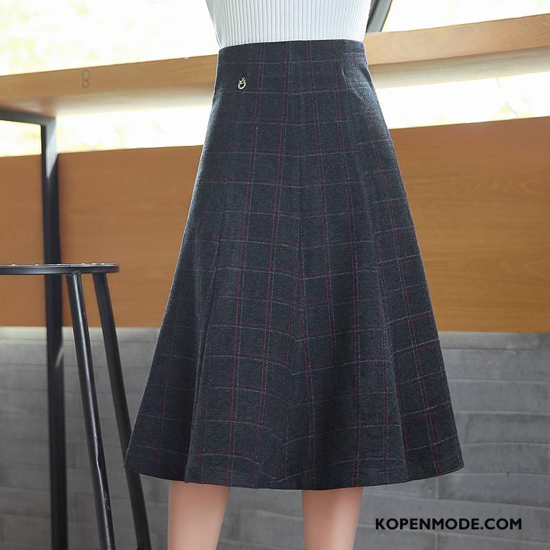 Rokken Dames Voorjaar Trend Geruit Mode Elegante Lang Effen Kleur Wit Zwart