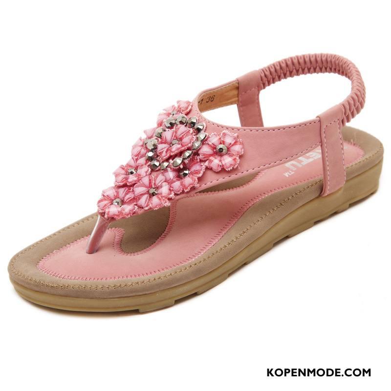 Sandalen Dames 2018 Bloemen Schoenen Platte Schoenen Sandaal Met Strass Roze Beige