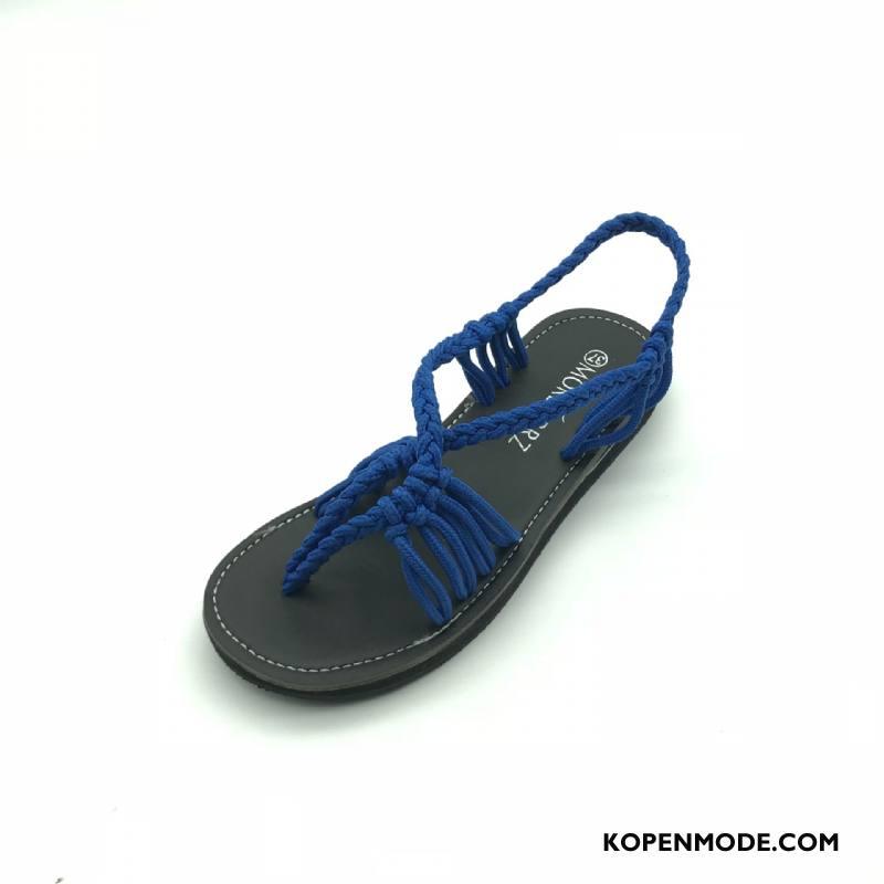 Sandalen Dames 2018 Hete Verkoop Zomer Sandaal Vrouwen Plat Blauw Zandkleur
