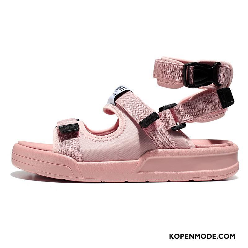 Sandalen Dames 2018 Sandaal Sport Zomer Velcro Vintage Zandkleur Roze Rood