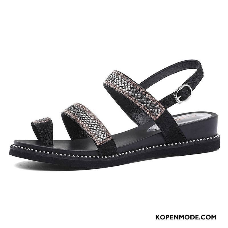 Sandalen Dames Alle Wedstrijden Schoenen Mode Zomer Trend Plat Rood Zwart