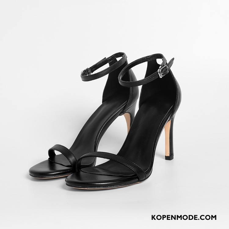 Sandalen Dames Hoge Hakken Eenvoudige Sandaal Laag Dunne Schoenen Zwart