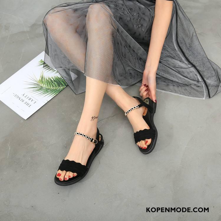 Sandalen Dames Mode 2018 Zachte Zolen Sandaal Zomer Met Strass Zwart