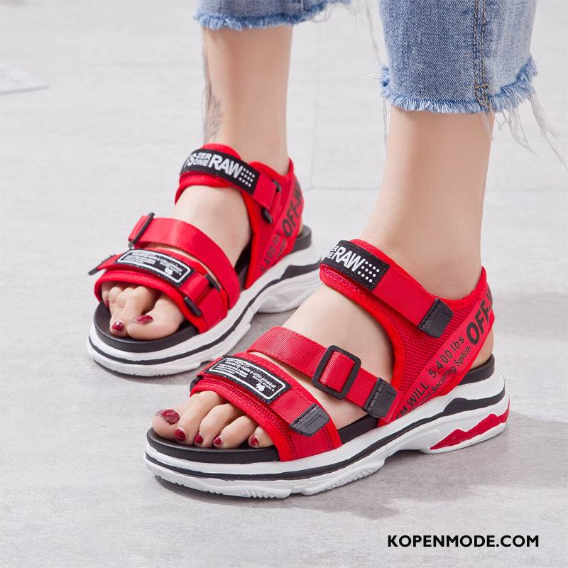 Sandalen Dames Sandaal Plateauzool Rome Zomer Vrouw Trend Rood