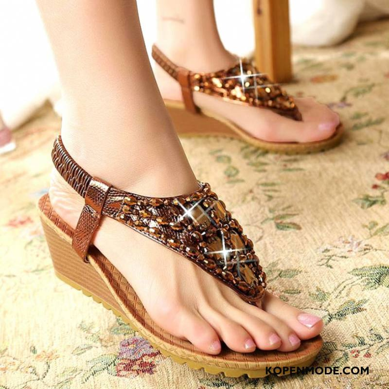 Sandalen Dames Sandaal Vrouwen Sleehak Hete Verkoop Grote Maten Bruine
