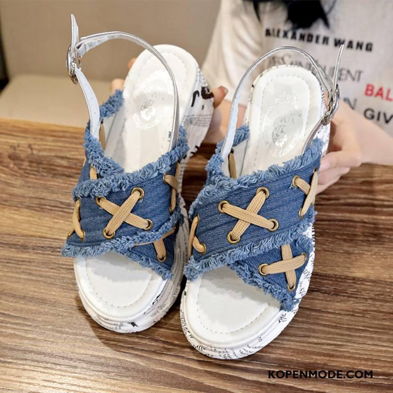 Sandalen Dames Schoenen Rome Zomer Vrouwen Plateauzool Trend Blauw Rood
