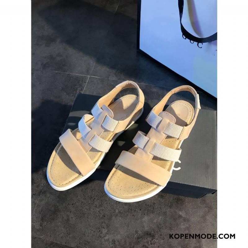 Sandalen Dames Velcro Trend Echt Leer Voorjaar Bandjes Sandaal Grijs