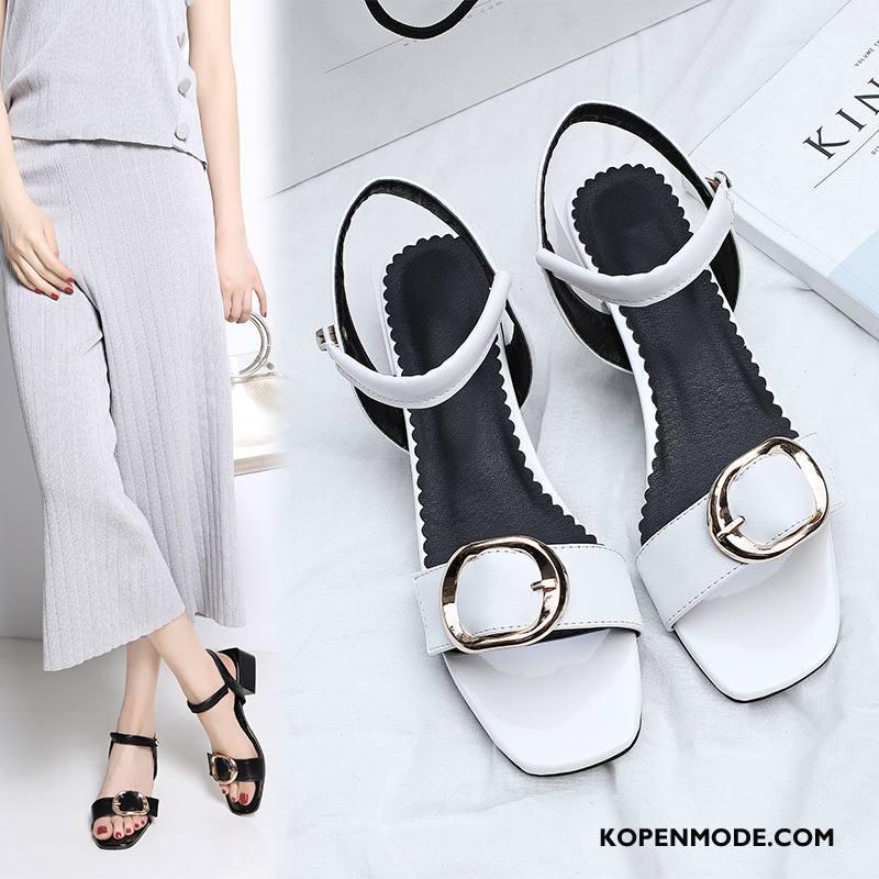 Sandalen Dames Vrouwen Grote Maten Schoenen Sandaal Gesp Leer Wit
