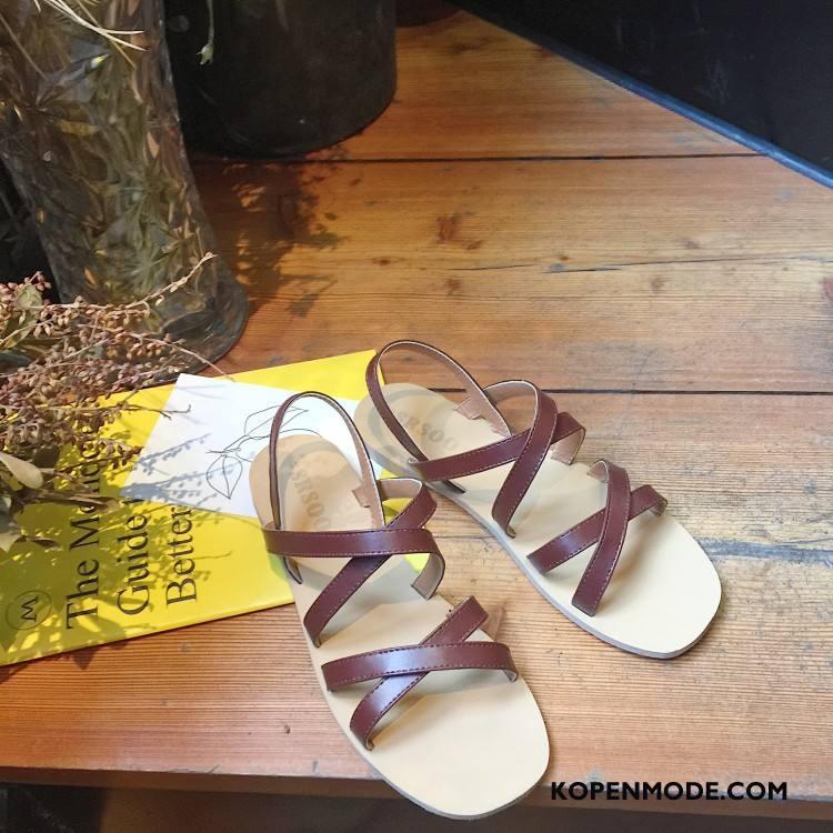 Sandalen Dames Vrouwen Plat Eenvoudige Sandaal Zomer Dunne Bruine