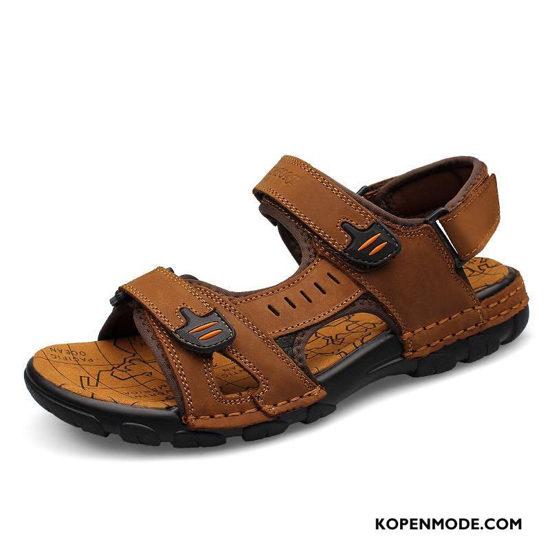 Sandalen Heren Casual Outdoor Leer Mannen Schoenen Sandaal Bruine