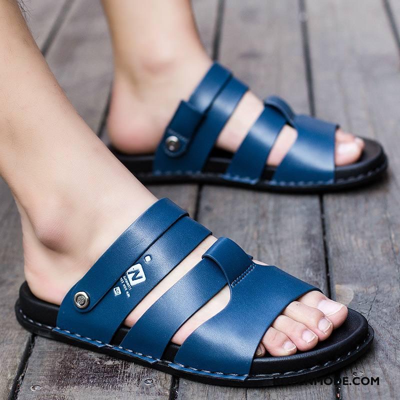Sandalen Heren Mannen Bedrijf Sandaal Mode Ademende Antislip Blauw