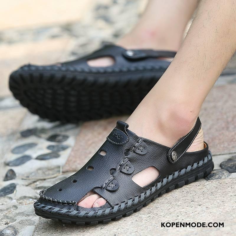 Sandalen Heren Mode Leer Mannen Ademende Sandaal Schoenen Zandkleur Zwart