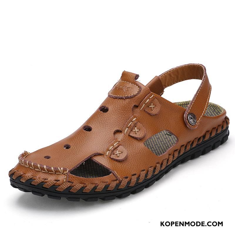 Sandalen Heren Naad Sandaal Mode Casual Antislip Zomer Zandkleur Bruine
