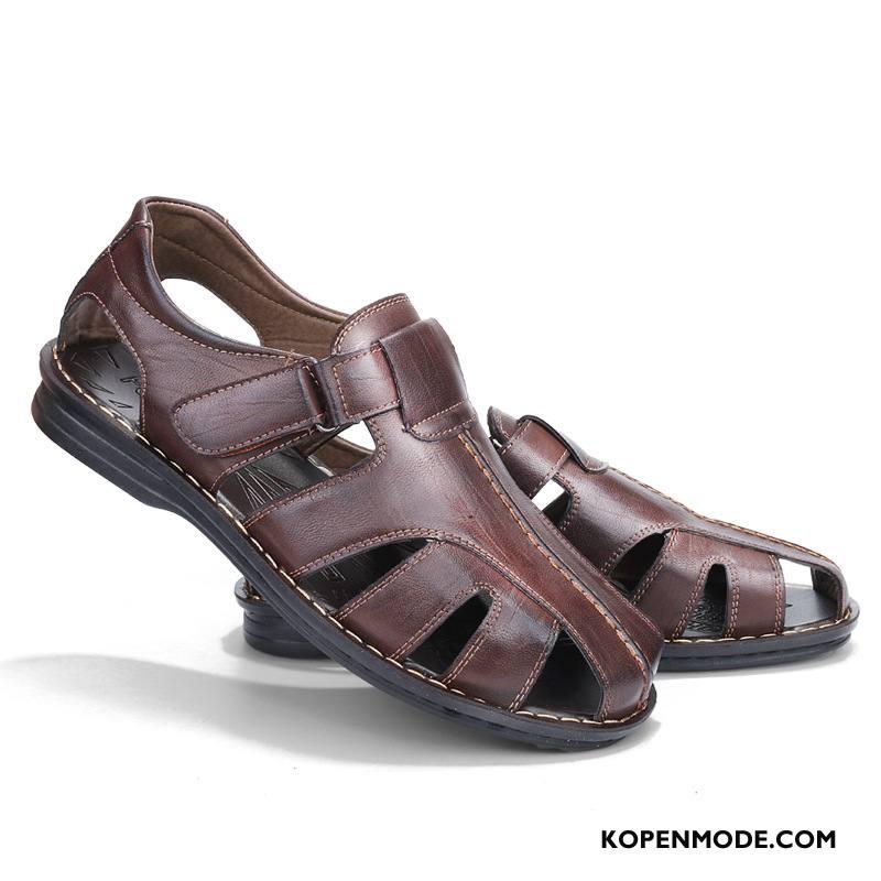 Sandalen Heren Pantoffels Grote Maten Velcro Super Schoenen Mannen Zandkleur Bruine
